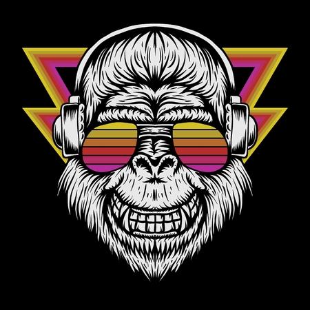 gorilla headphone retro vector illustration Vektoros illusztráció