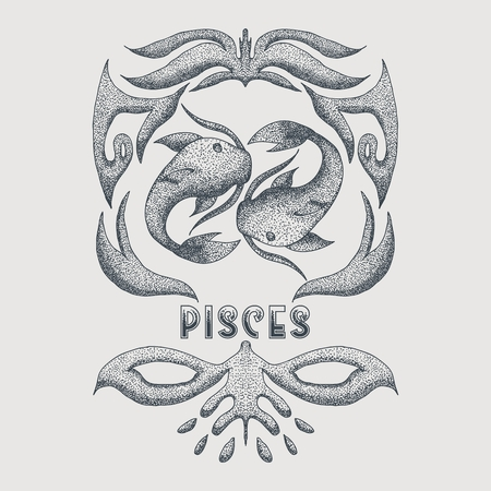 pisces vintage decoration vector illustration