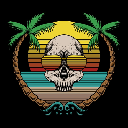 skull beach retro vector illustration Illustration