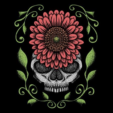 skull rose decoration vector illustration