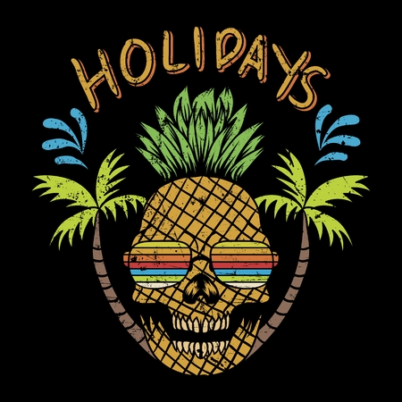 skull pinapple holidays vector illustration