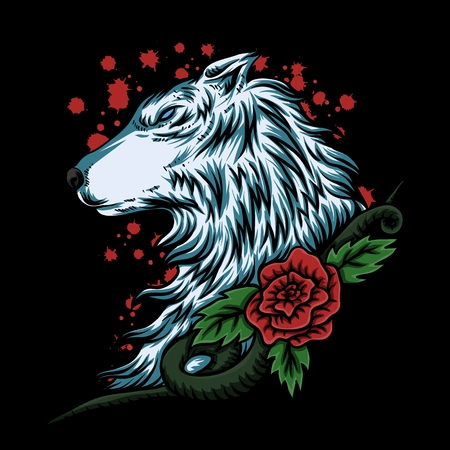 wolf rose vector illustration Illustration