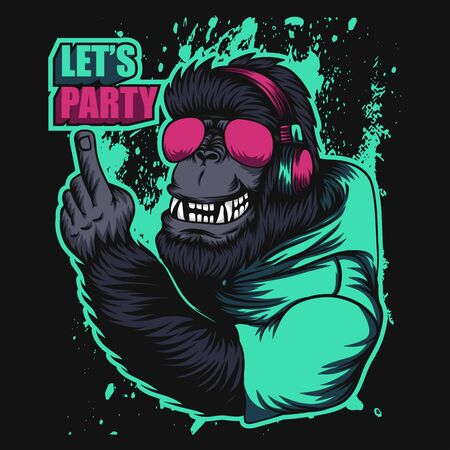 gorilla headphone party vector illustration