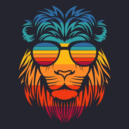 lion head retro eyeglasses vector illustration Illustration