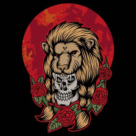 lion skull head red moon vector illustration Illustration
