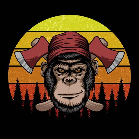 monkey lumberjack retro vector illustration Illustration