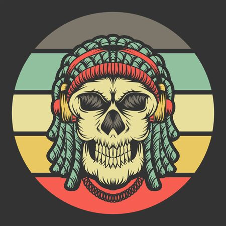 skull dreadlocks headphone retro vector illustration Illustration