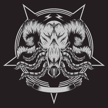 bull bone tentacle vector illustration for your company or brand