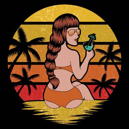 woman beach holiday retro vector illustration for your company or brand Illustration
