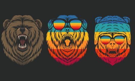Angry Bear retro vector illustration for your company or brand