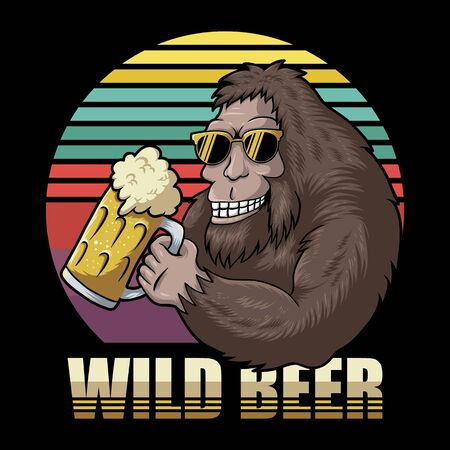 Bigfoot beer retro vector illustration for your company or brand