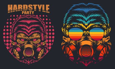Gorilla Mask Retro hard party vector illustration for your company or brand