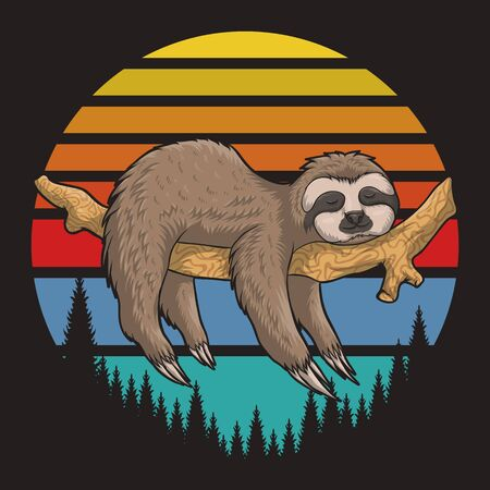 lazzy Sloth Retro sunset vector illustration for your company or brand