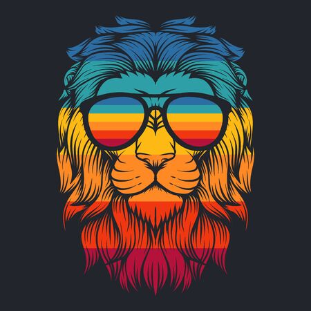 lion cool retro eyeglasses vector illustration for your company or brand
