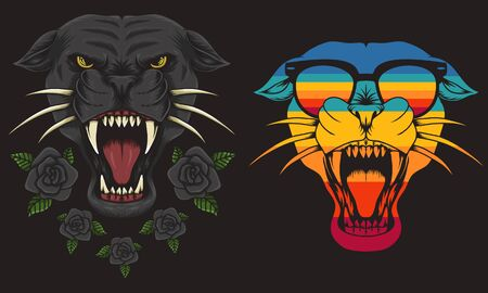 Panther cool Retro vector illustration for your company or brand