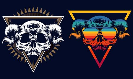 Skull evil retro vector illustration for your company or brand