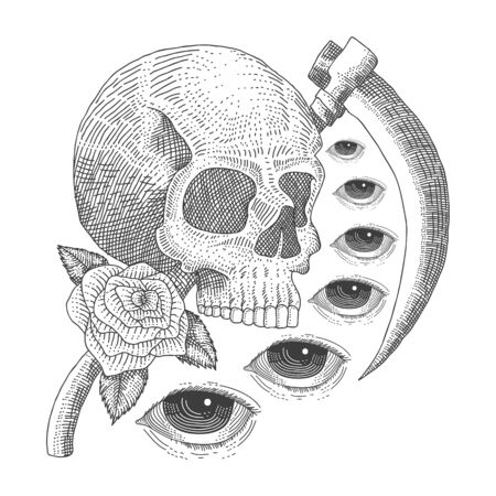 vintage skull Eye death vector illustration for your company or brand