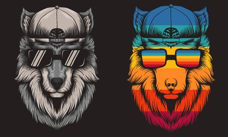 Wolf cool Retro vector illustration for your company or brand