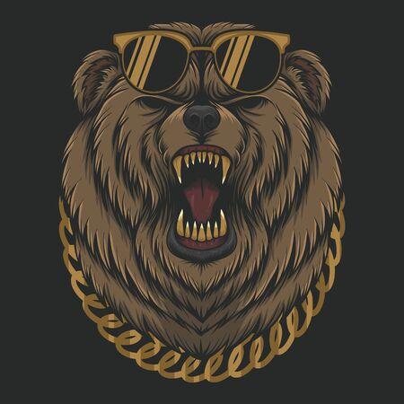 Angry cool Bear vector illustration