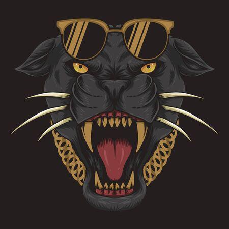 cool black Panther vector illustration Фото со стока - 129786493