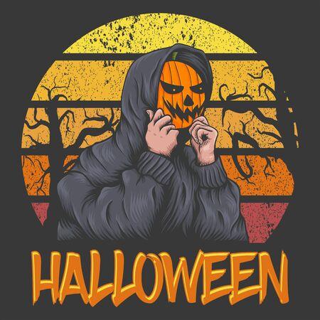 Halloween Sunset retro illustration