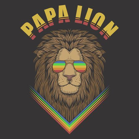 papa lion illustration