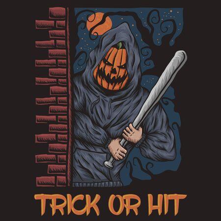 Trick or Hit halloween illustration  イラスト・ベクター素材