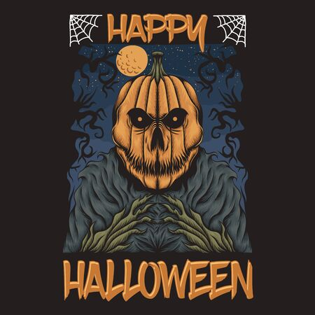 pumpkin happy halloween vector illustration