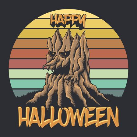 wood tree sunset retro happy halloween vector illustration