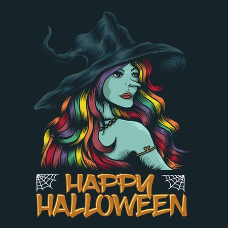 young witch happy halloween vector illustration