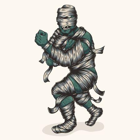 zombie mummy fighter vector illustration