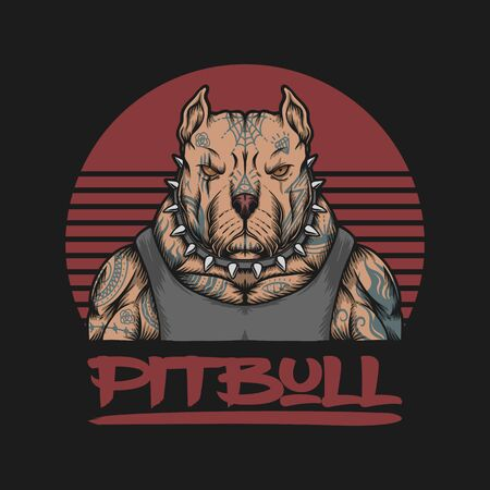 pitbull gangster  tattoo vector illustration for your company or brand