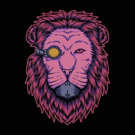 Lion cyborg illustration for your company or brand Stock Illustratie