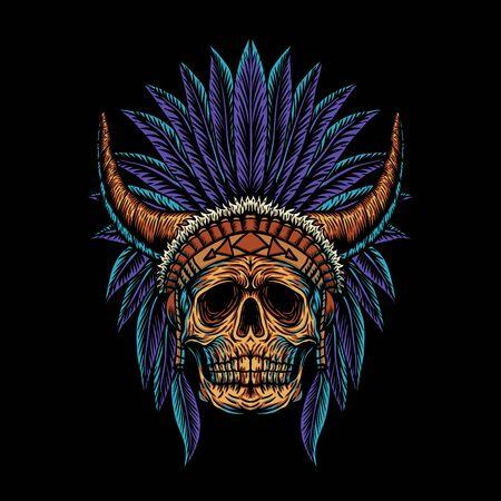 skull indian horn vector illustration