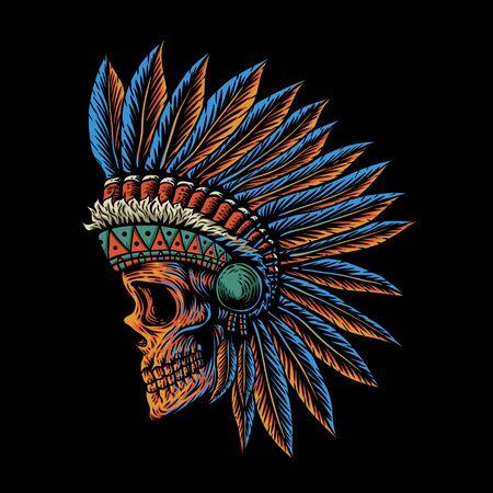 illustration vectorielle de crâne côté indien position