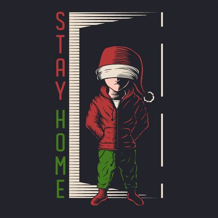 Kids stay home christmas vector illustration