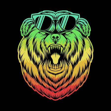 Angry Bear eyeglasses colorful vector illustration for your company or brand