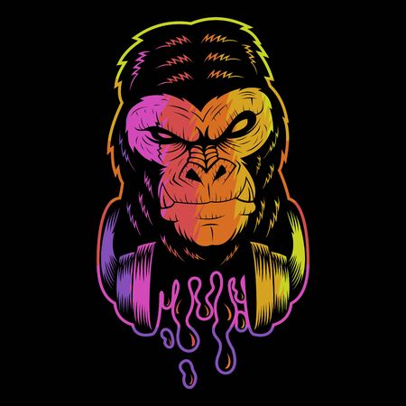 gorilla headphone colorful vector illustration for your company or brand