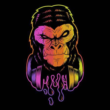 illustration vectorielle colorée de casque de gorille pour votre entreprise ou votre marque