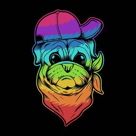 Pug dog hat and bandana colorful vector illustration for your company or brand Illusztráció