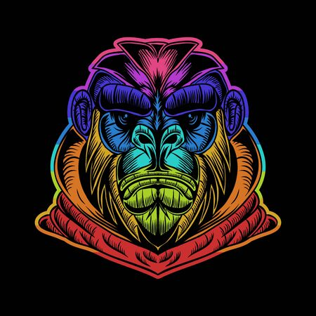 gorilla hoodie colorful vector illustration for your company or brand Stock fotó - 134261422