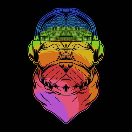 pug dog headphone colorful vector illustration for your company or brand