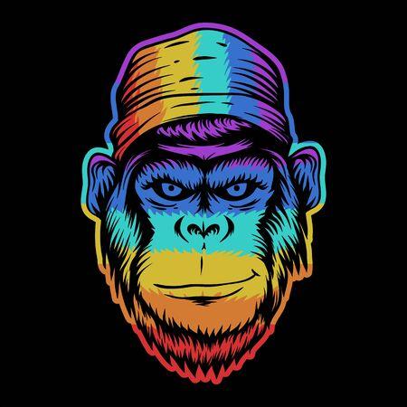 tête de singe sourire illustration vectorielle colorée pour votre entreprise ou votre marque Vecteurs
