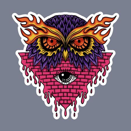 Owl head stickers vector illustration for your company or brand