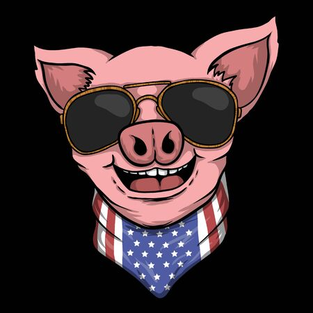 Smile Pig head vector illustration for your company or brand