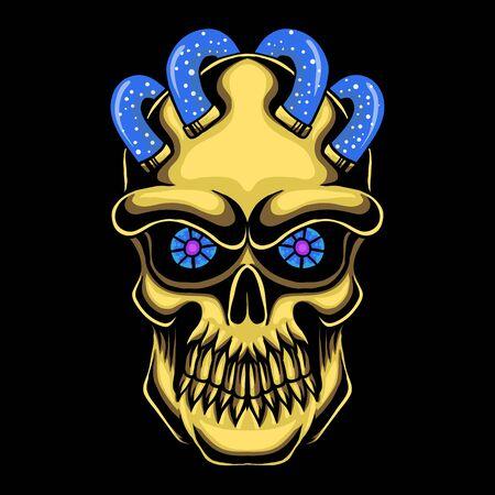 Totenkopf-Kopf-Gold-Vektor-Illustration für Ihr Unternehmen oder Ihre Marke