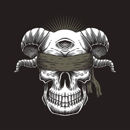 Blind Skull one eye vector illustration for your company or brand Иллюстрация