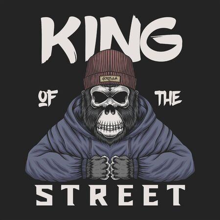 Tête de gorille roi de la rue illustration vectorielle pour votre entreprise ou votre marque Vecteurs