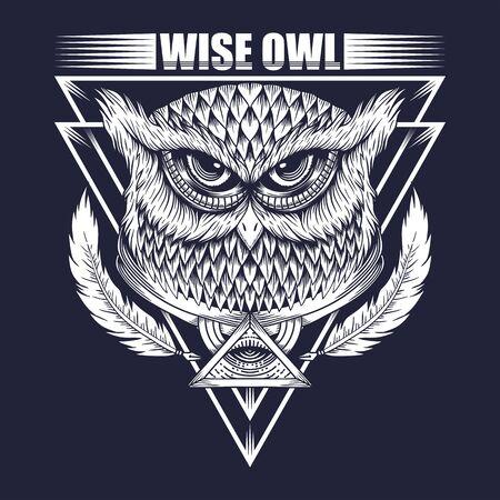 Wise Owl vector illustration Ilustração
