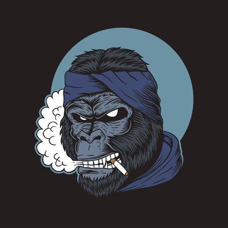 Gorilla Smoke vector illustration